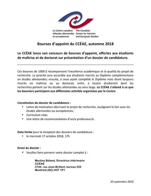 Bourses D Appoint Du Centre Canadien D études Allemandes Et